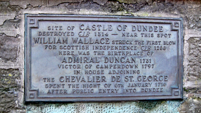 Metal plaque about Castle of Dundee